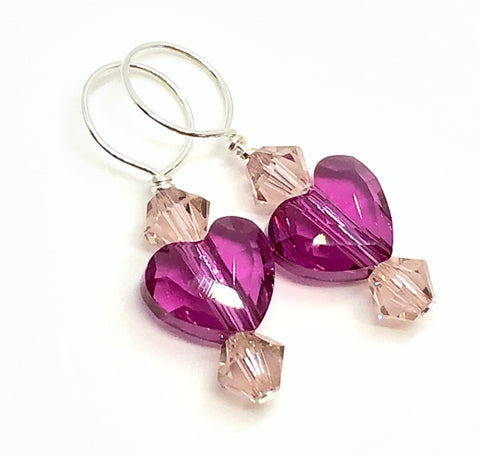 Two Hearts Swarovski Crystal Stitch Markers - Fuchsia and Vintage Rose