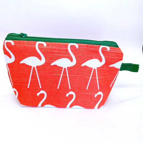 Accessory Bag - The Wedge - FLAMINGO with Green Zipper