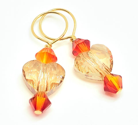 RESERVED FOR TLEE - Many Hearts Swarovski Crystal Stitch Markers - Gold Shade & Fire Opal