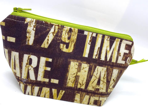 Accessory Bag - The Wedge - New York Signs with Neon Green Zipper