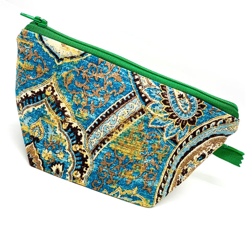 Accessory Bag - The Wedge - Paisley with Green Zipper
