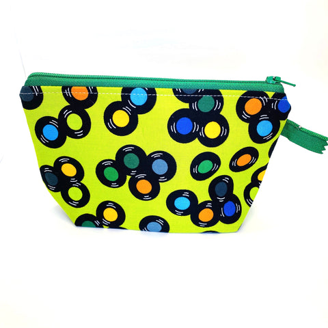 Accessory Bag - The Wedge - SPINNING VINYL with Green Zipper