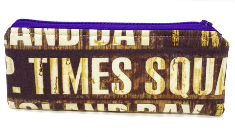 Accessory Bag - The Wee - New York Signs with Purple Zipper