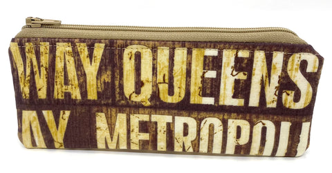 Accessory Bag - The Wee - New York Signs with Tan Zipper