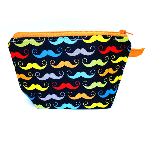 Accessory Bag - The Wedge - Mustaches with Orange Zipper