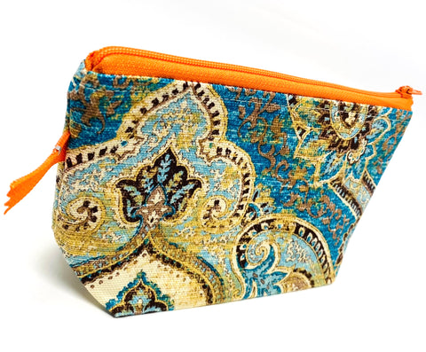 Accessory Bag - The Wedge - Paisley with Orange Zipper