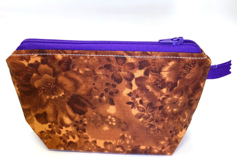 Accessory Bag - The Wedge - Grandma's Couch/Purple Zipper