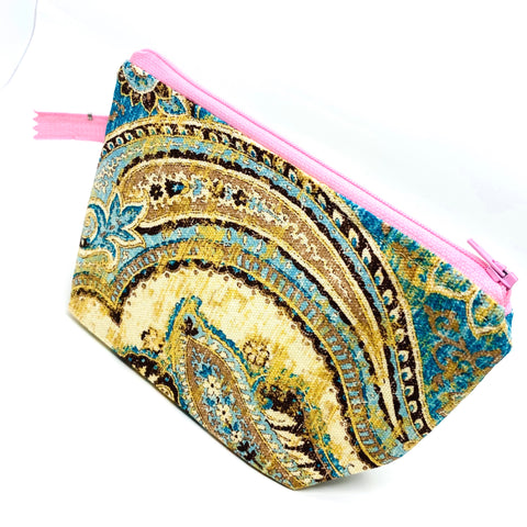 Accessory Bag - The Wedge - Paisley with Light Pink Zipper
