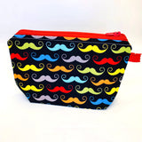 Accessory Bag - The Wedge - Mustaches with Red Zipper