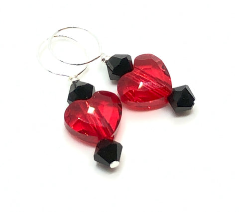 Two Hearts Swarovski Crystal Stitch Markers - Dark Scarlet and Jet