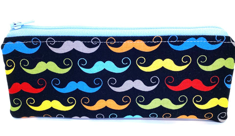 Accessory Bag - The Wee - Mustaches with Light Blue Zipper