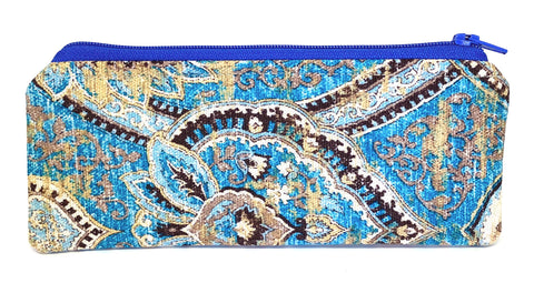 Accessory Bag - The Wee - Paisley with Blue Zipper