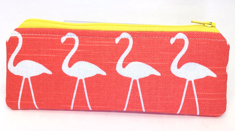 Accessory Bag - The Wee - Flamingos with Bright Yellow Zipper