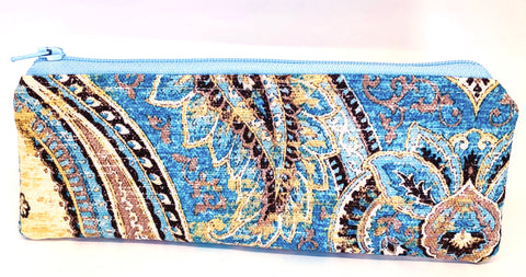 Accessory Bag - The Wee - Paisley with Light Blue Zipper