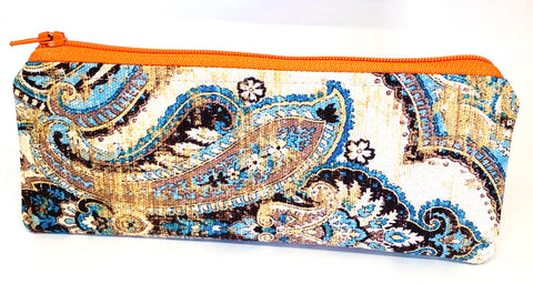 Accessory Bag - The Wee - Paisley with Orange Zipper