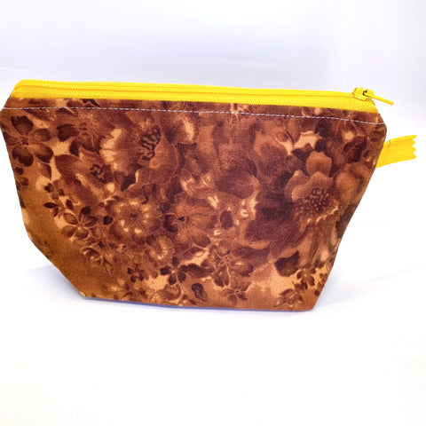 Accessory Bag - The Wedge - Grandma's Couch/Yellow Zipper