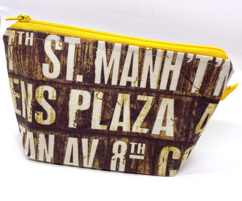 Accessory Bag - The Wedge - New York Signs with Yellow Zipper