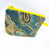 Accessory Bag - The Wedge - Paisley with Yellow Zipper
