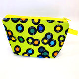 Accessory Bag - The Wedge - SPINNING VINYL with Bright Yellow Zipper