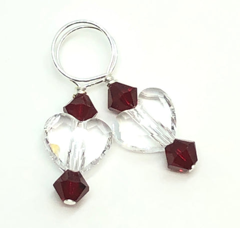 Two Hearts Swarovski Crystal Stitch Markers - Crystal and Garnet