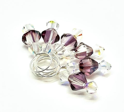 Swarovski Crystal Stitch Markers - Lilac Shadow