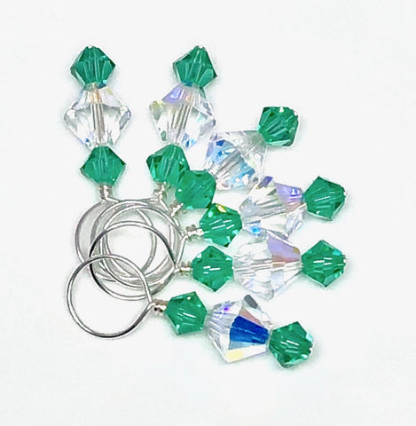 Swarovski Crystal Stitch Markers - Crystal & Light Emerald