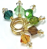 Swarovski Crystal Stitch Markers - MINIS - Forest & Gold Shadow