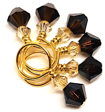 Swarovski Crystal Stitch Markers - MINIS - Mocha & Gold Shadow