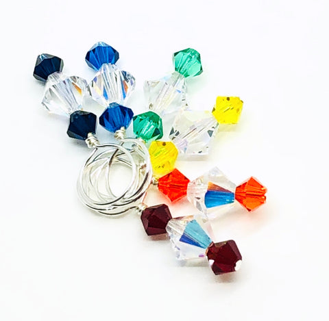 Swarovski Crystal Stitch Markers - Rainbow Mix