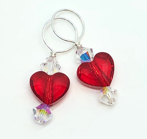 Two Hearts Swarovski Crystal Stitch Markers - Scarlet and Crystal AB