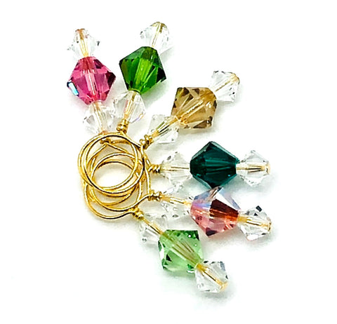 Swarovski Crystal Stitch Markers - Tourmaline Mix