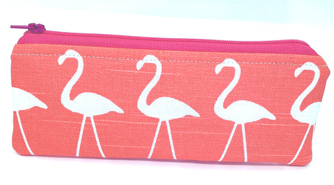Accessory Bag - The Wee - Flamingos with Pink Zipper