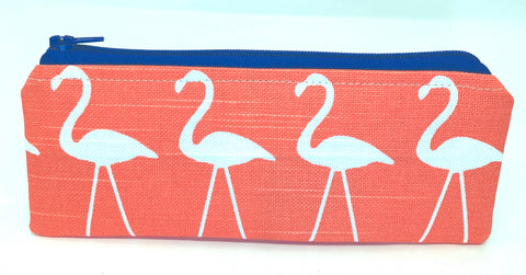 Accessory Bag - The Wee - Flamingos with Purple Zipper
