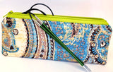 Accessory Bag - The Wee - Paisley with Neon Green Zipper