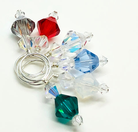 Swarovski Crystal Stitch Markers - MINIS - Winter Mix