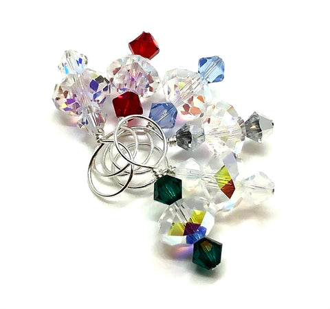 Swarovski Crystal Stitch Markers - Crystal & Winter Mix