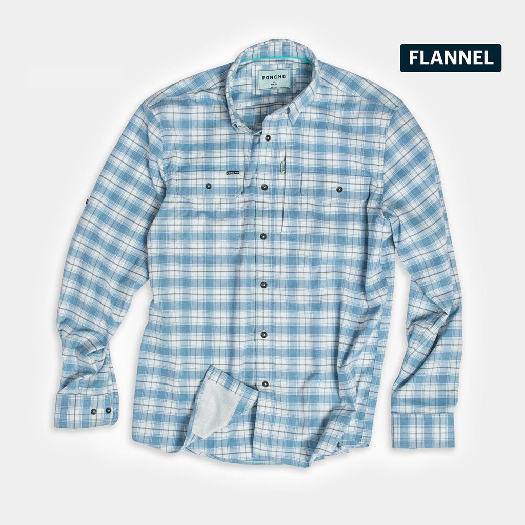 Photo of Blue Bison flannel with white background