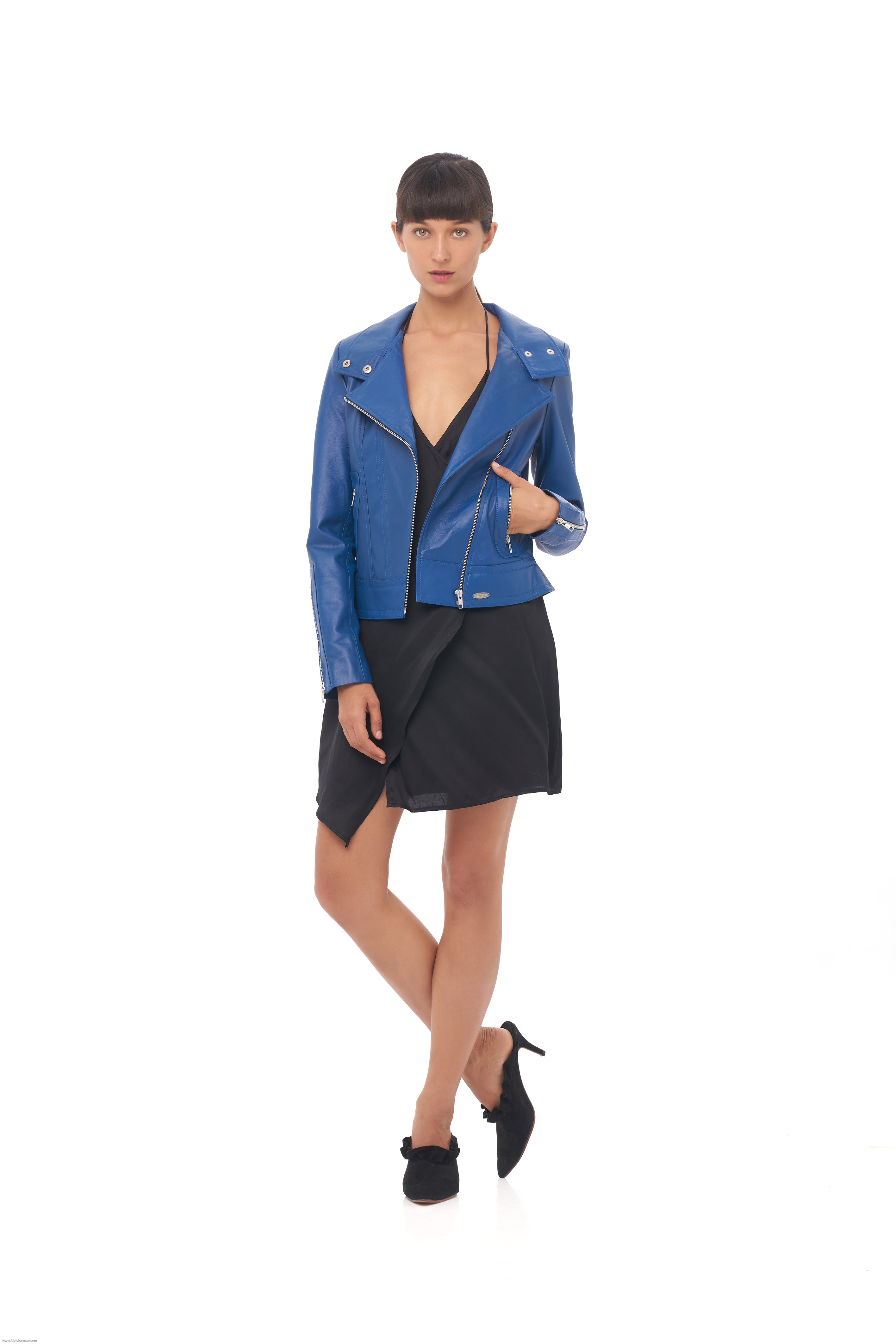 Sapphire Blue Leather Jacket