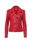 Scarlet Red Leather Jacket