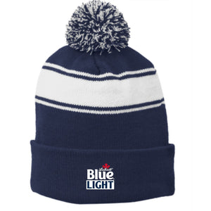 Labatt Blue Light Stripe Pom Pom Beanie