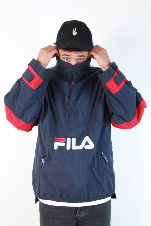 FILA FLEECED HOODLESS JACKET NAVY