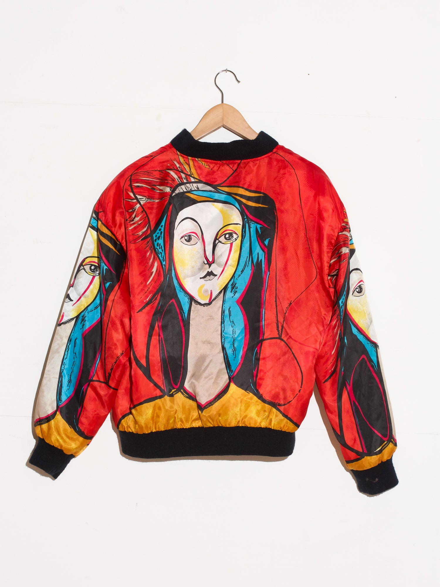RED PICASSO PORTRAIT BOMBER JACKET