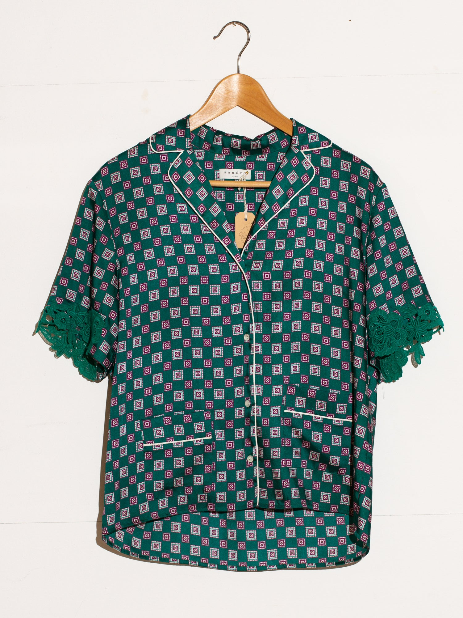 SANDRO SHORT SLEEVE BLOUSE SILK