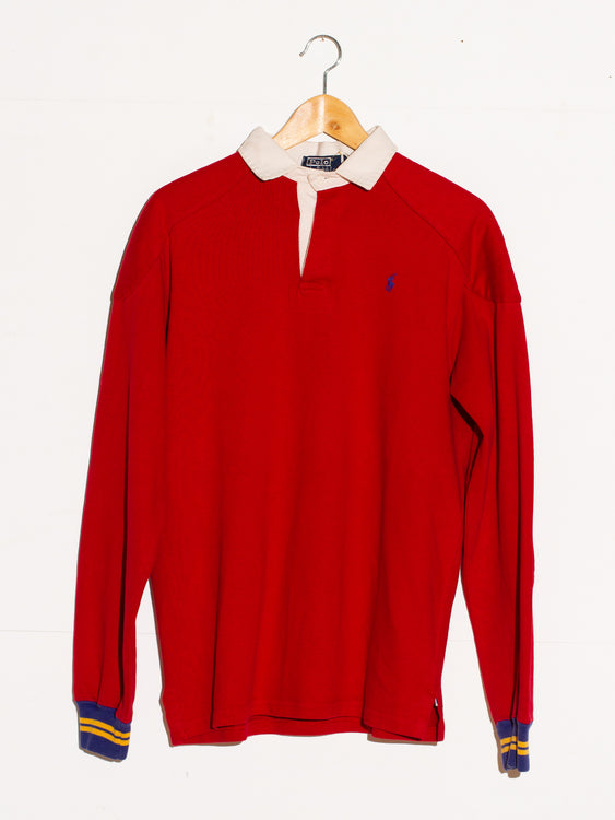 RALPH LAUREN CLASSIC RED RUGBY LONGSLEEVE