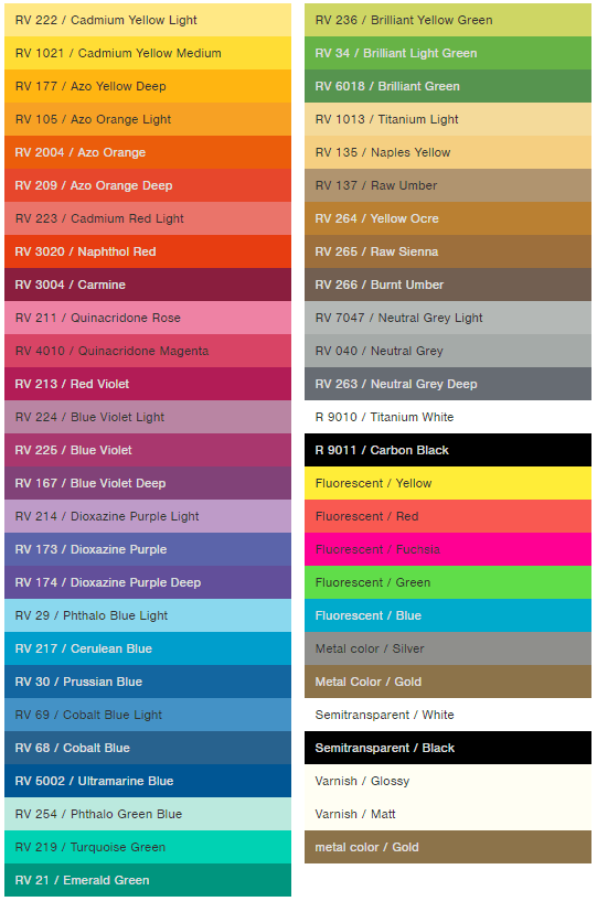 Water Based Color Chart