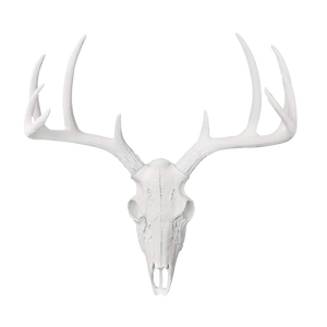 Carved Deer Head - White Faux