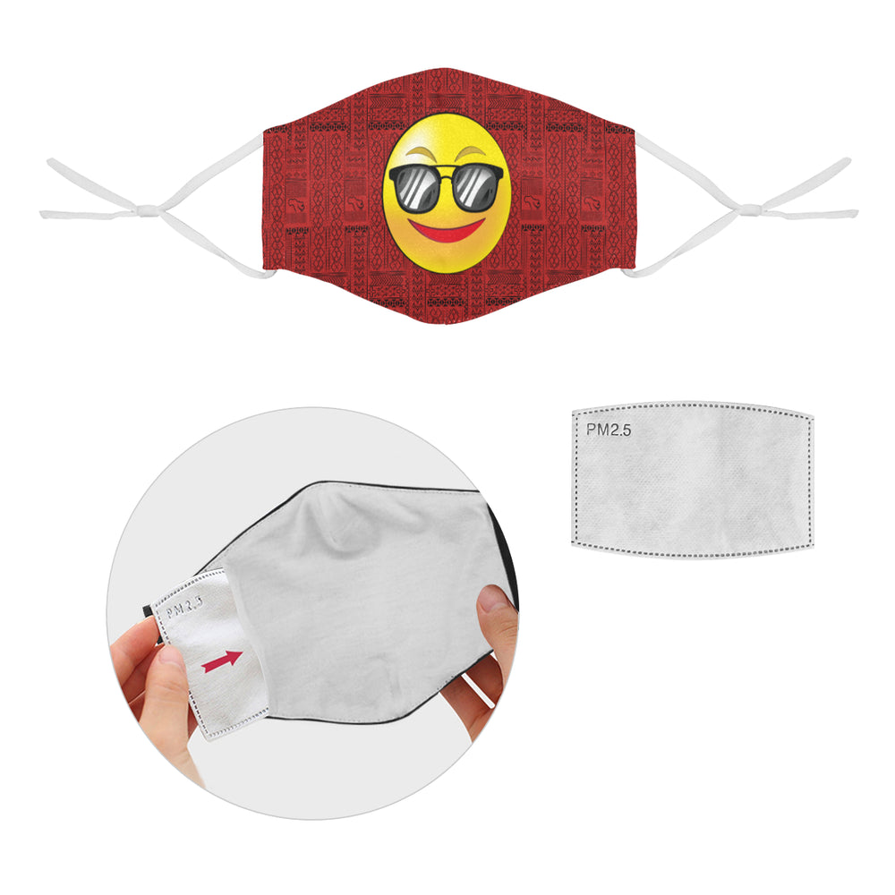 COOL Tribal Print Emoji Cotton Fabric Face Mask with Filter Slot & Adjustable Strap - Non-medical use (2 Filters Included)