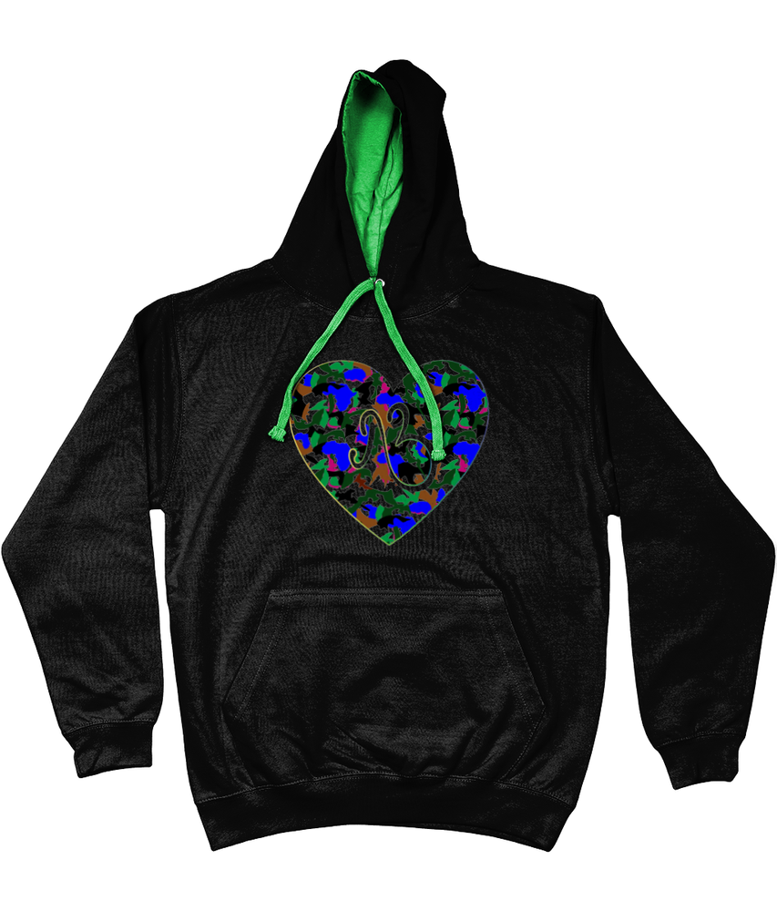 AfriBix Camo Heart Unisex Hoodie with a contrast hood and string
