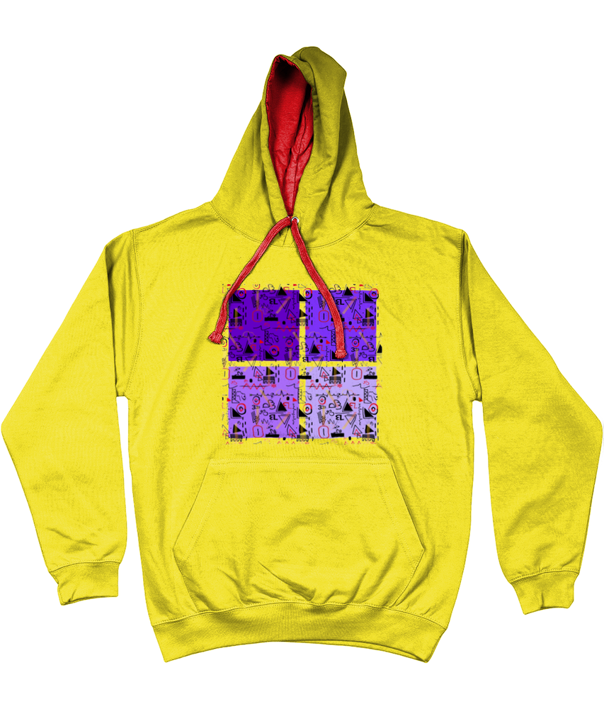 Linear Print Graphic Unisex Hoodie with a contrast hood and string