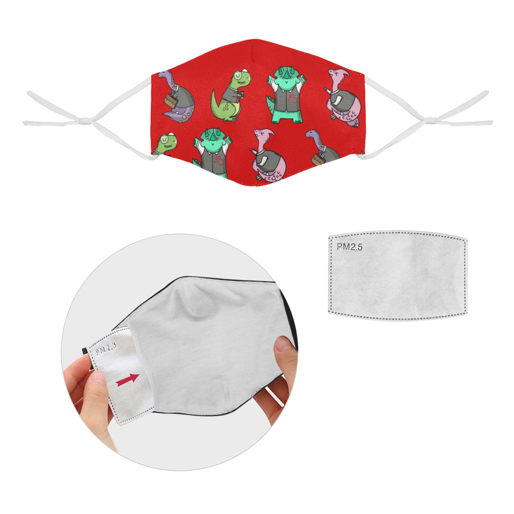 Dino's at Work Cotton Fabric Face Mask with Filter Slot & Adjustable Strap - Non-medical use (2 Filters Included)
